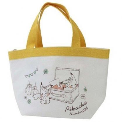 〔小禮堂〕神奇寶貝Pokemon皮卡丘 可拆式帆布保冷手提便當袋《黃白.籃子裡》野餐袋.保冷袋