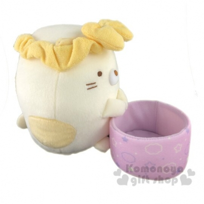 〔小禮堂〕角落生物 貓咪 杯子絨毛玩偶娃娃《S.黃紫》置物盒.擺飾.玩具