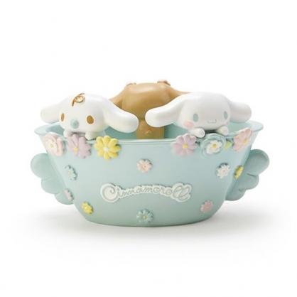 〔小禮堂〕大耳狗 造型陶瓷無蓋收納盒《綠棕》置物盒.擺飾.生日花朵系列