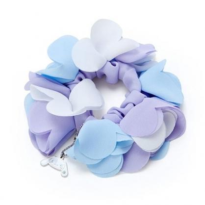 〔小禮堂〕大耳狗 愛心花瓣造型絲質彈力髮圈《藍紫》大腸圈.髮束.髮飾.生日花朵系列