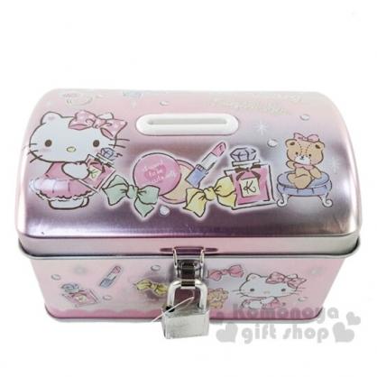 〔小禮堂〕Hello Kitty 方形鐵製存錢筒附鎖《粉.化妝品》撲滿.儲金筒.收納盒