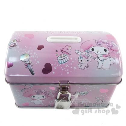 〔小禮堂〕美樂蒂 方形鐵製存錢筒附鎖《粉.化妝品》撲滿.儲金筒.收納盒