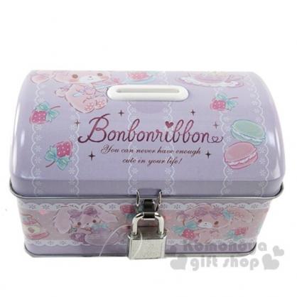 〔小禮堂〕蹦蹦兔 方形鐵製存錢筒附鎖《紫.草莓》撲滿.儲金筒.收納盒