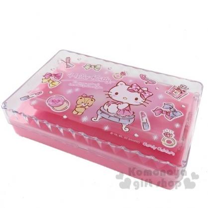 〔小禮堂〕Hello Kitty 方形透明掀蓋三層收納盒《粉》置物盒.飾品盒