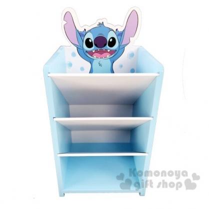 〔小禮堂〕迪士尼 史迪奇 桌上型木製直式四層斜口收納盒《藍》置物盒.筆筒.刷具筒