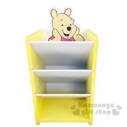 〔小禮堂〕迪士尼 小熊維尼 桌上型木製直式四層斜口收納盒《黃》置物盒.筆筒.刷具筒