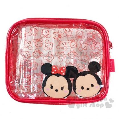 〔小禮堂〕迪士尼TsumTsum 米奇米妮 防水旅行盥洗包五件組《紅.大臉》空盒.空瓶.化妝包