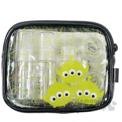 〔小禮堂〕迪士尼TsumTsum 三眼怪 防水旅行盥洗包五件組《黑.大臉》空盒.空瓶.化妝包