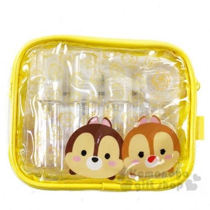 〔小禮堂〕迪士尼TsumTsum 奇奇蒂蒂 防水旅行盥洗包五件組《黃.大臉》空盒.空瓶.化妝包