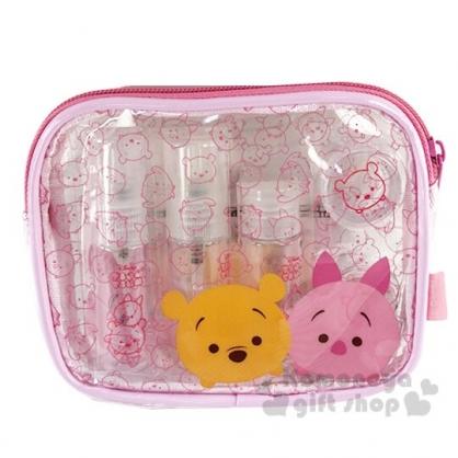 〔小禮堂〕迪士尼TsumTsum 小熊維尼 防水旅行盥洗包五件組《粉.大臉》空盒.空瓶.化妝包