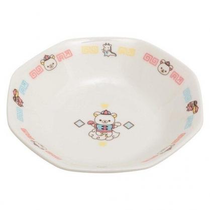 〔小禮堂〕懶懶熊 拉拉熊 八角形陶瓷盤湯匙組《白.中國服》炒飯盤.沙拉盤.調羹