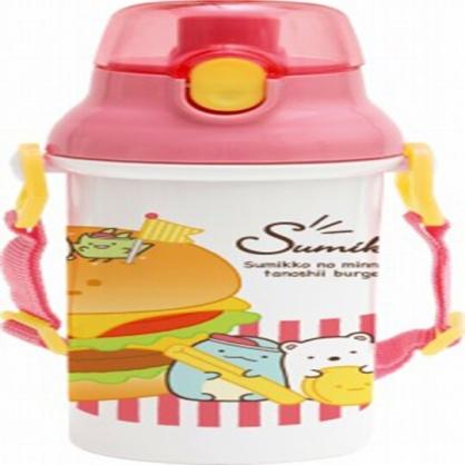〔小禮堂〕角落生物 日製直飲式水壺附背帶《粉白.漢堡》480ml.水瓶.兒童水壺