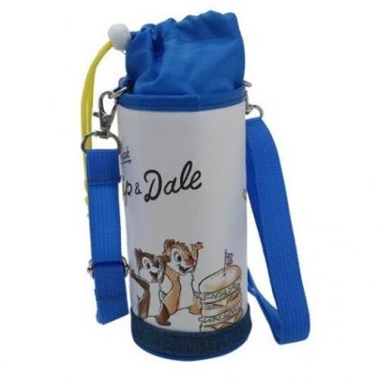 〔小禮堂〕迪士尼 唐老鴨 奇奇蒂蒂 皮質斜背束口保冷水壺袋《藍白.看漢堡》500-600ml.杯套.水瓶袋