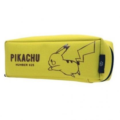 〔小禮堂〕神奇寶貝Pokemon 皮卡丘 尼龍拉鍊筆袋《黃.跳躍》收納包.化妝包.鉛筆盒