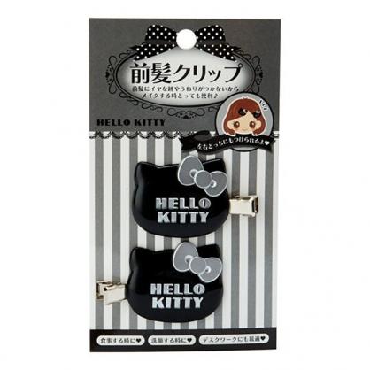 〔小禮堂〕Hello Kitty 大臉造型塑膠鐵製髮夾組《2入.黑》瀏海夾.鴨嘴夾.髮飾