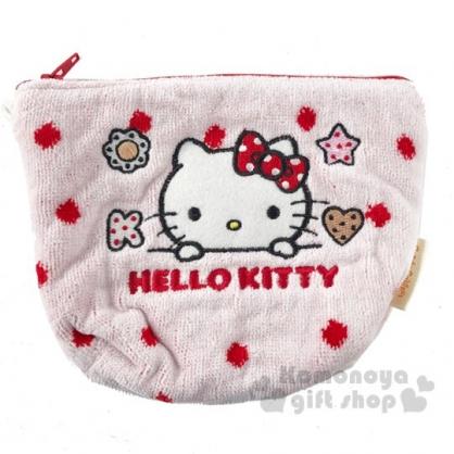 〔小禮堂〕Hello Kitty 厚棉刺繡船形化妝包《紅粉.探頭》收納包.萬用包