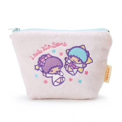 〔小禮堂〕雙子星 厚棉刺繡船形化妝包《粉紫.手杖》收納包.萬用包