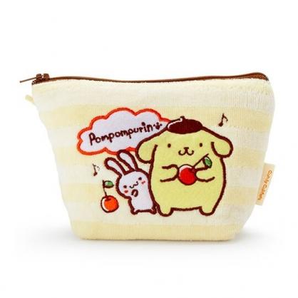 〔小禮堂〕布丁狗 厚棉刺繡船形化妝包《黃棕.櫻桃》收納包.萬用包