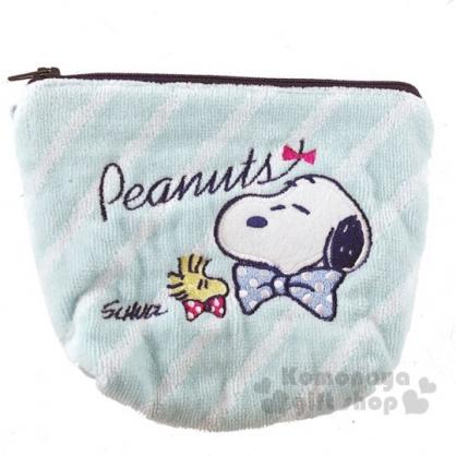 〔小禮堂〕史努比 厚棉刺繡船形化妝包《綠藍.戴領結》收納包.萬用包