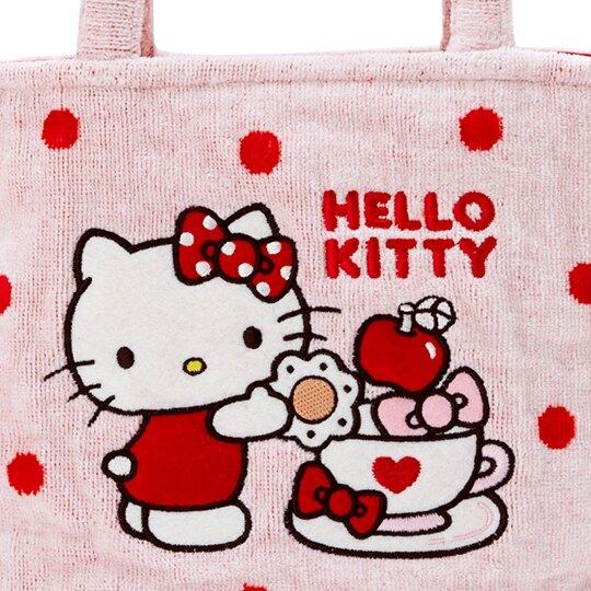 〔小禮堂〕Hello Kitty 厚棉刺繡手提袋《紅粉.咖啡杯》便當袋.外出袋