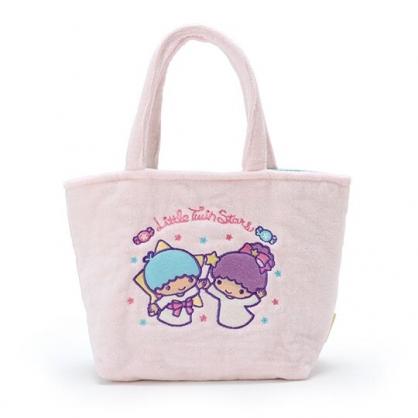 〔小禮堂〕雙子星 厚棉刺繡手提袋《粉紫.手杖》便當袋.外出袋