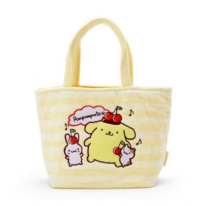 〔小禮堂〕布丁狗 厚棉刺繡手提袋《黃白.櫻桃》便當袋.外出袋