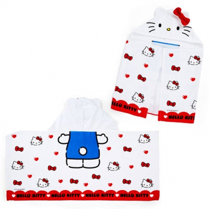 〔小禮堂〕Hello Kitty 兒童造型純棉割絨連帽浴巾《紅白》50x110cm.沙灘巾.毛巾