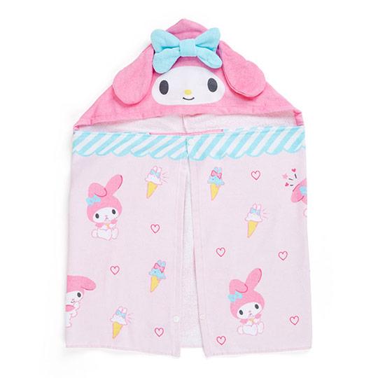 〔小禮堂〕美樂蒂 兒童造型純棉割絨連帽浴巾《粉藍》50x110cm.沙灘巾.毛巾