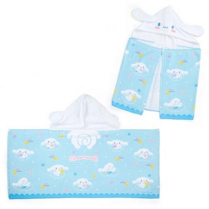 〔小禮堂〕大耳狗 兒童造型純棉割絨連帽浴巾《藍白》50x110cm.沙灘巾.毛巾