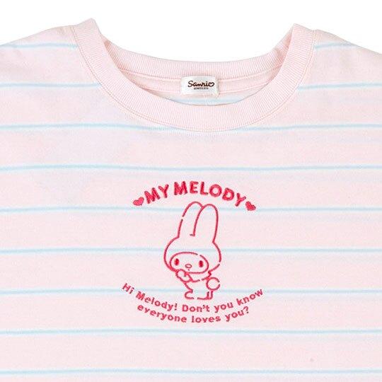 〔小禮堂〕美樂蒂 休閒棉質圓領短袖上衣《粉.橫紋》T恤.短T.T-shirt