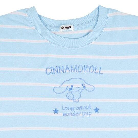 〔小禮堂〕大耳狗 休閒棉質圓領短袖上衣《藍.橫紋》T恤.短T.T-shirt