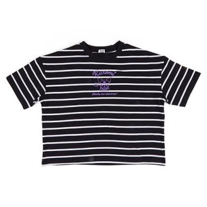 〔小禮堂〕酷洛米 休閒棉質圓領短袖上衣《黑.橫紋》T恤.短T.T-shirt