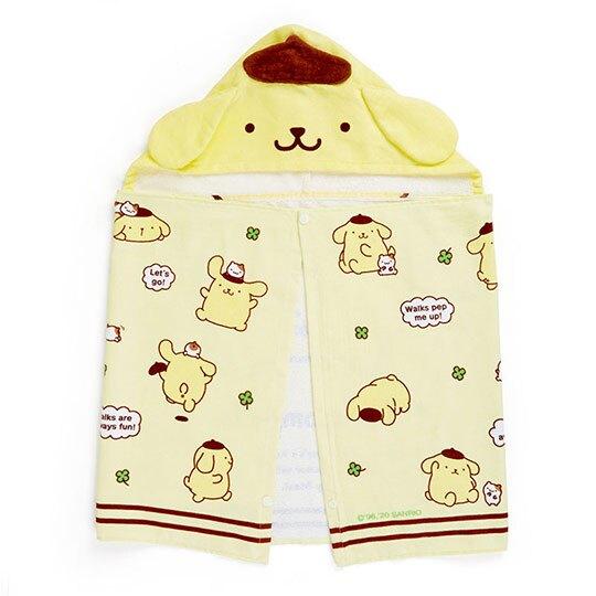 〔小禮堂〕布丁狗 兒童造型純棉割絨連帽浴巾《黃棕》50x110cm.沙灘巾.毛巾