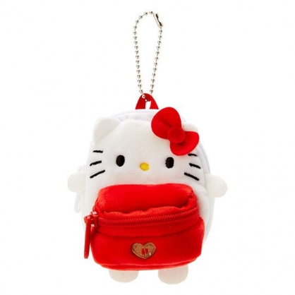 〔小禮堂〕Hello Kitty 後背包造型絨毛吊飾零錢包《紅白》掛飾收納包.玩偶配件