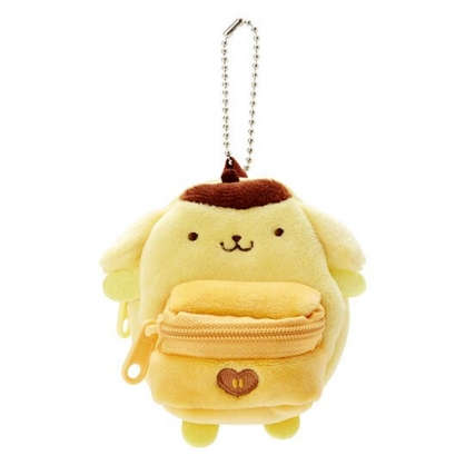 〔小禮堂〕布丁狗 後背包造型絨毛吊飾零錢包《黃棕》掛飾收納包.玩偶配件