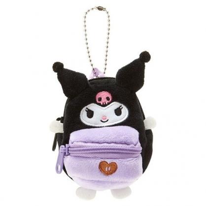 〔小禮堂〕酷洛米 後背包造型絨毛吊飾零錢包《黑紫》掛飾收納包.玩偶配件