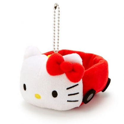 〔小禮堂〕Hello Kitty 汽車造型絨毛吊飾收納盒《紅白》絨毛置物盒.玩偶配件