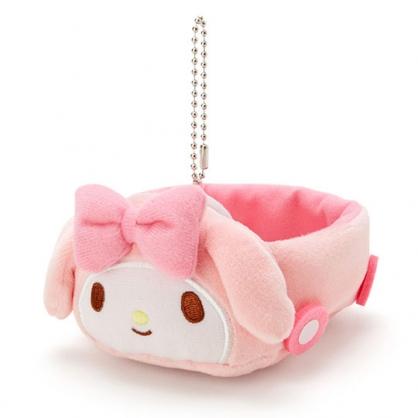 〔小禮堂〕美樂蒂 汽車造型絨毛吊飾收納盒《粉白》絨毛置物盒.玩偶配件