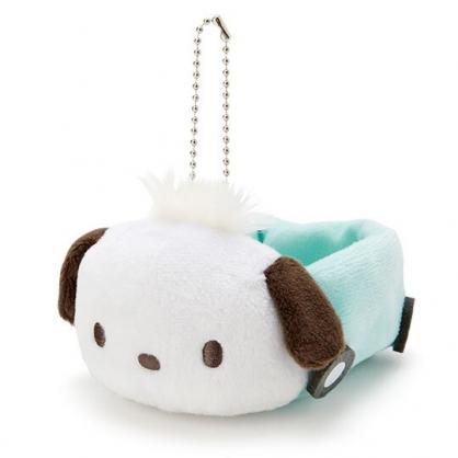 〔小禮堂〕帕恰狗 汽車造型絨毛吊飾收納盒《綠白》絨毛置物盒.玩偶配件