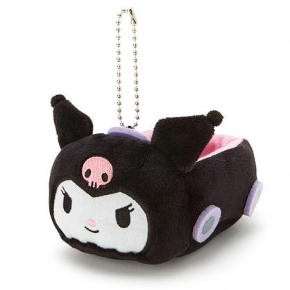 〔小禮堂〕酷洛米 汽車造型絨毛吊飾收納盒《黑紫》絨毛置物盒.玩偶配件