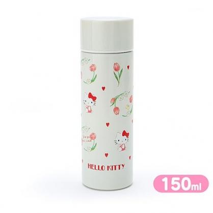 〔小禮堂〕Hello Kitty 迷你旋轉蓋不鏽鋼保溫瓶《米》150ml.水壺.水瓶.隨手瓶