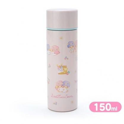 〔小禮堂〕雙子星 迷你旋轉蓋不鏽鋼保溫瓶《粉》150ml.水壺.水瓶.隨手瓶