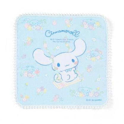 〔小禮堂〕大耳狗 純棉割絨圓角小方巾《藍》23x23cm.手帕.生日花朵系列
