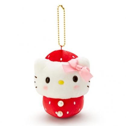 〔小禮堂〕Hello Kitty 絨毛玩偶娃娃吊飾《紅白》掛飾.鑰匙圈.草莓年代系列