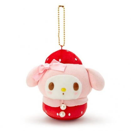 〔小禮堂〕美樂蒂 絨毛玩偶娃娃吊飾《紅粉》掛飾.鑰匙圈.草莓年代系列