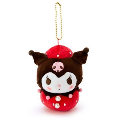 〔小禮堂〕酷洛米 絨毛玩偶娃娃吊飾《紅黑》掛飾.鑰匙圈.草莓年代系列
