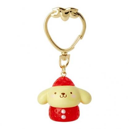 〔小禮堂〕布丁狗 草莓扣環造型塑膠鑰匙圈《紅黃》掛飾.吊飾.草莓年代系列
