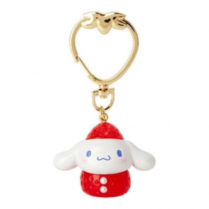 〔小禮堂〕大耳狗 草莓扣環造型塑膠鑰匙圈《紅白》掛飾.吊飾.草莓年代系列