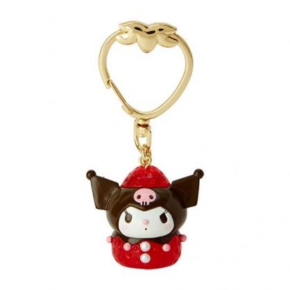 〔小禮堂〕酷洛米 草莓扣環造型塑膠鑰匙圈《紅黑》掛飾.吊飾.草莓年代系列