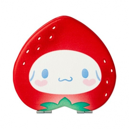 〔小禮堂〕大耳狗 草莓造型皮質隨身雙面鏡《紅白》放大鏡.折鏡.草莓年代系列
